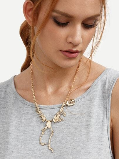 Golden Dinosaur Skeleton Pendant Necklace