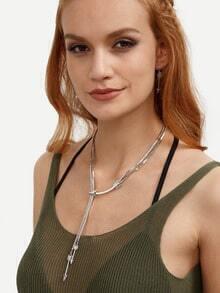 Silver Ethnic Arrow Pendant Necklace