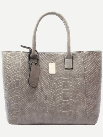 Grey Crocodile Embossed Faux Leather Shopper Bag