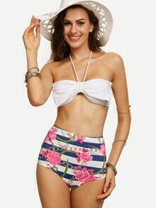Multicolor Bow Embellished Mix & Match Bandeau Bikini Set