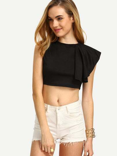 Black Ruffle Zip Back Crop Top