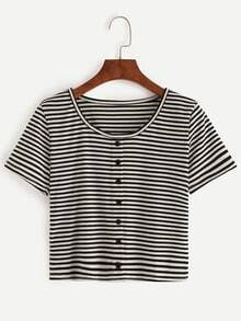 Buttons Striped T-shirt