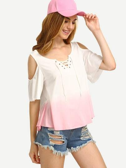Pink Lace Up Open Shoulder Ombre T-shirt