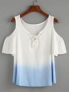 Blue Lace Up Open Shoulder Ombre T-shirt