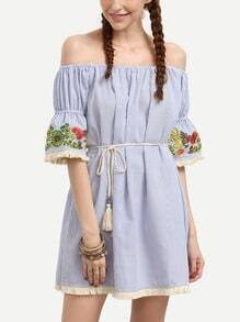 Blue Vertical Striped Embroidered Off The Shoulder Dress