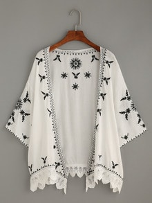 Scalloped Crochet Trimmed Embroidered Kimono