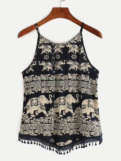 Navy Elephant Print Crochet Trimmed Cami Top