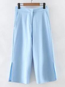 Blue Split Side Zipper Pockets Cropped Pants