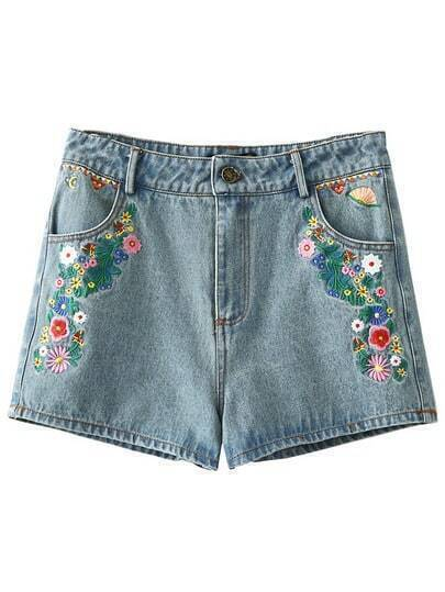 Light Blue Embroidery Pocket Zipper Denim Shorts