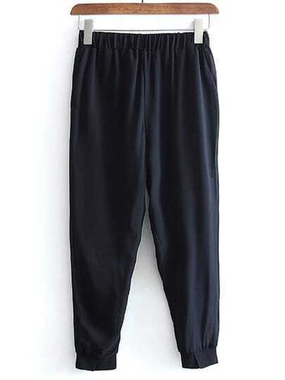 Black Elastic Waist Pockets Chiffon Pants