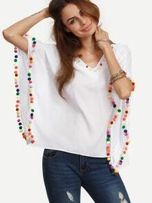 White Caftan Sleeve Pompom Decorated Blouse