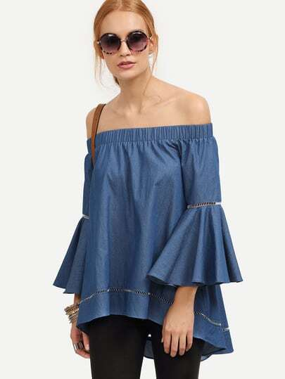 Demin Hollow Insert Dip Hem Off The Shoulder Blouse