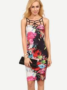 Floral Print Caged Neck Bodycon Dress