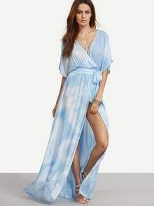 Blue Tie-dye Wrap Front Maxi Dress With Belts