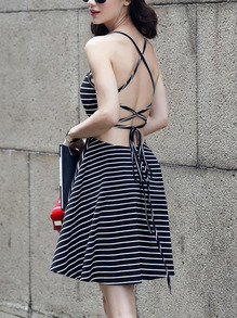 Black Striped Lace-Up Cami Dress