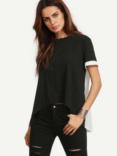 Black and White Short Sleeve High-low Blouse