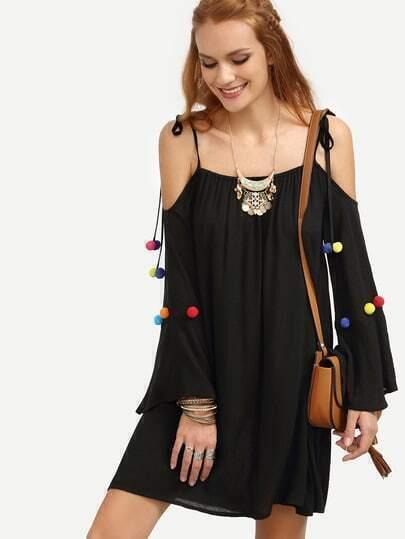 Black Tie Spaghetti Strap Pom-pom Long Sleeve Dress