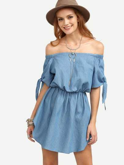 Off Shoulder Tie Cuff Dolphin Hem Dress With Elasticated Waist