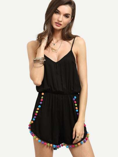 Black Spaghetti Strap Pom-pom Backless Jumpsuit