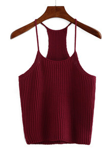 Burgundy Spaghetti Strap Knit Tank Top