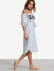 Bardot Bishop Sleeve Embroidery Bow Waist Curved Hem Dress