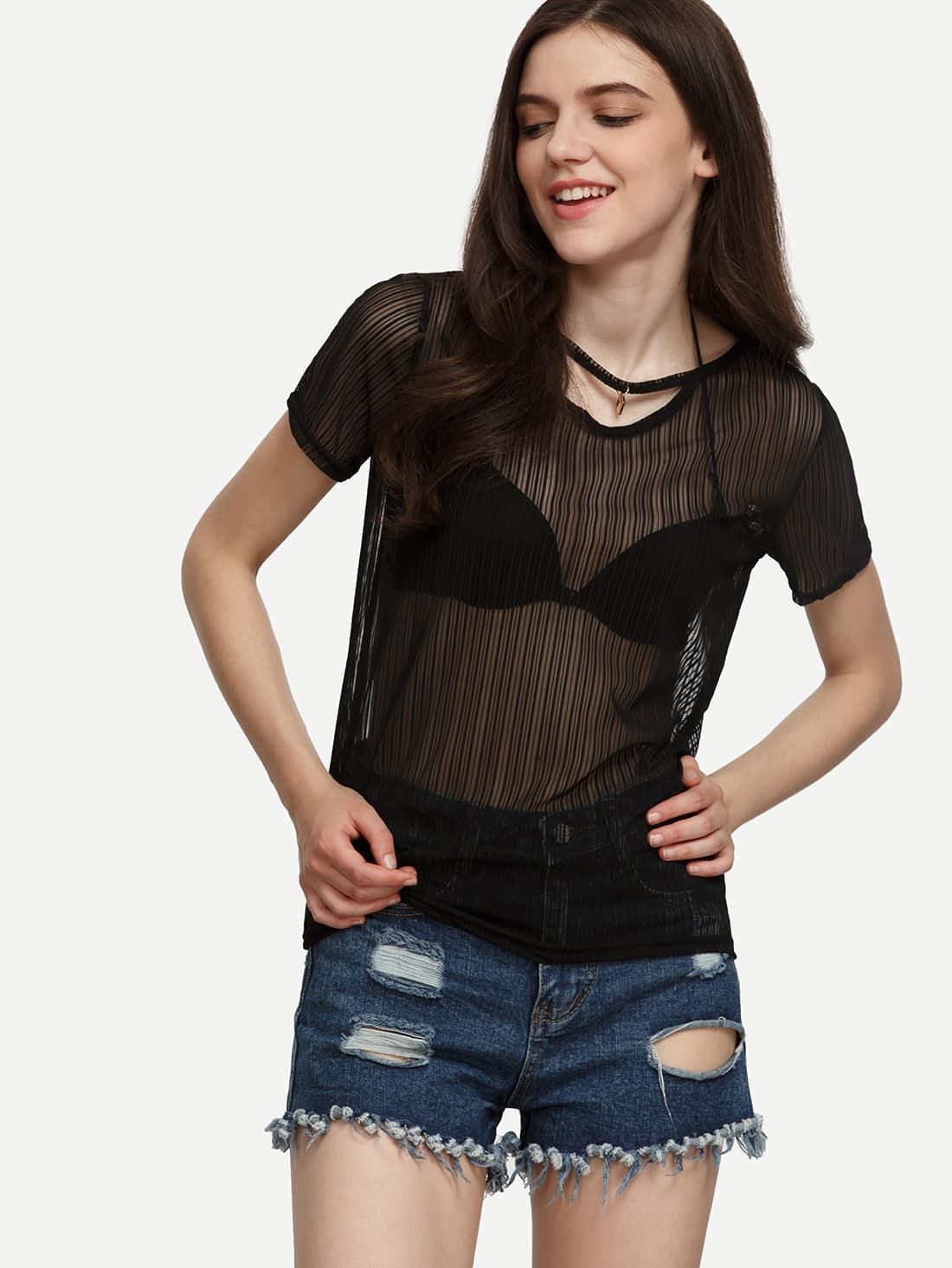 black sheer striped mesh tshirt sheinsheinside