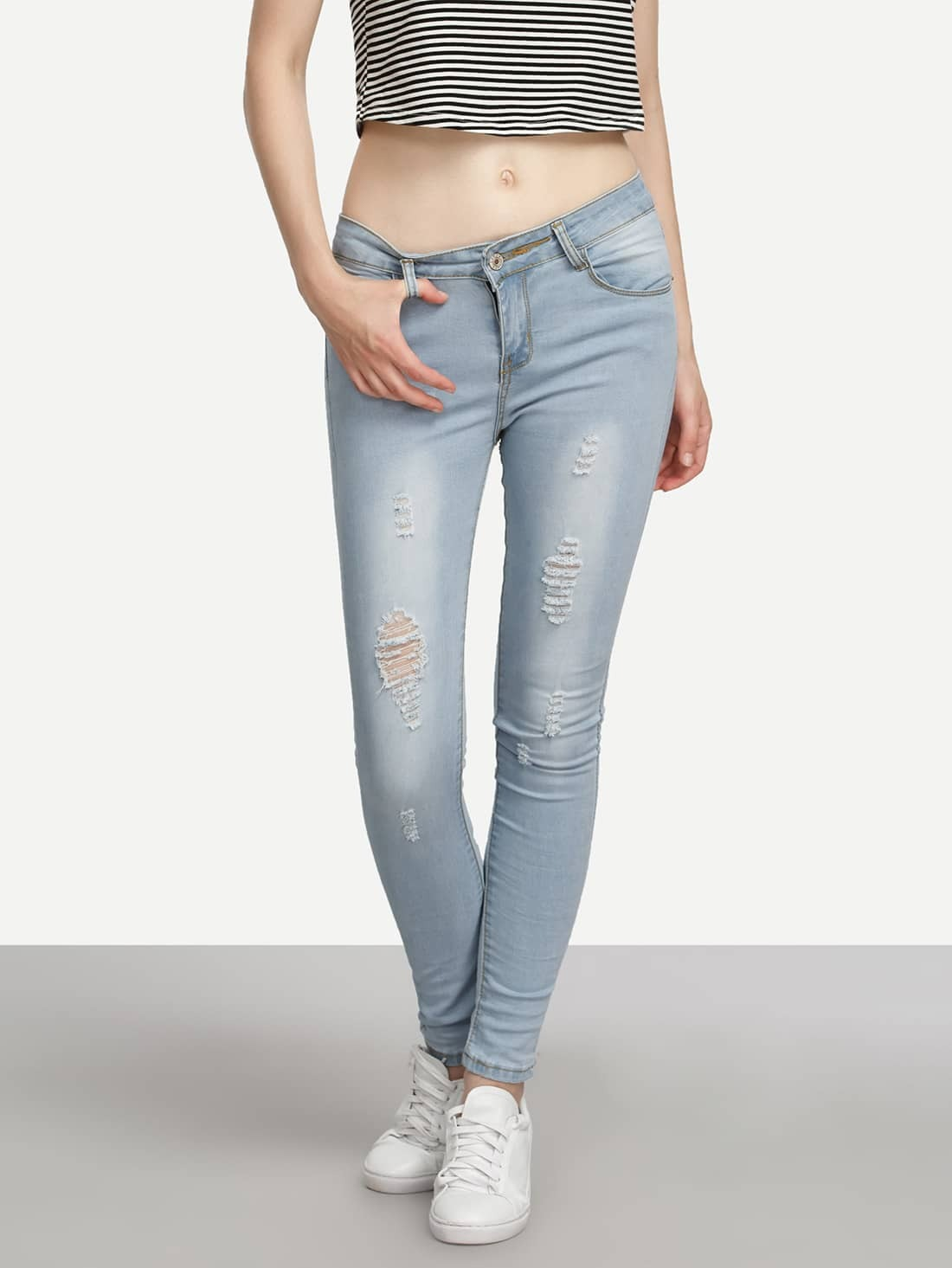 Blue Ripped Skinny Jeans hot 2017 blue ripped jeans men with holes cowboy super skinny famous designer brand slim fit destroyed torn jean pants for male