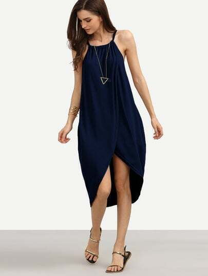 Navy Halter Neck Slit Front Asymmetric Dress