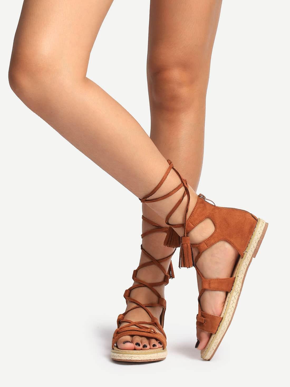 Фото Brown Peep Toe Tassel Lace-up Sandals. Купить с доставкой