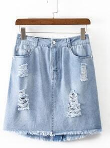 Blue Pockets Zipper Ripped Raw-edge Hem Skirt