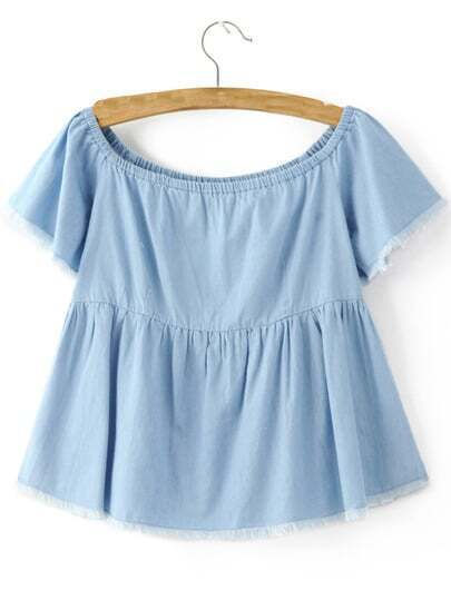Blue Boat Neck Smock Raw-edge Hem Blouse