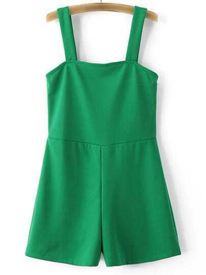 Green Stretch Casual Pinafore Jumpsuit