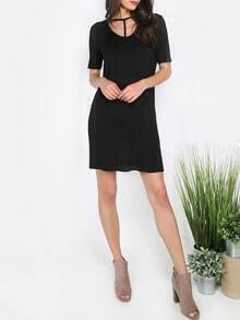 black short sleeve dress sheinsheinside