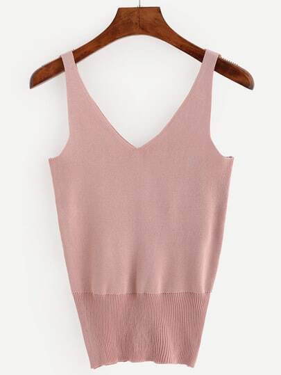 Pink Double V-Neck Knitted Tank Top -SheIn(Sheinside)