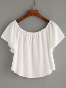 White Off The Shoulder Swing Crop Top