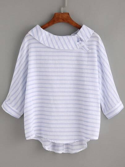 Striped Blue Boat Neck Dip Hem Shirt