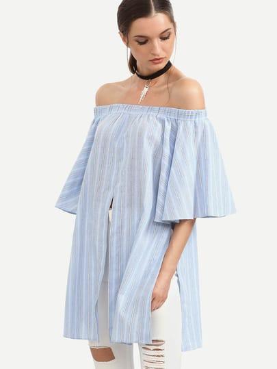 Blue Off The Shoulder Striped Split Blouse