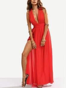 Red Plunge V-neck Split Self-tie Maxi Dress