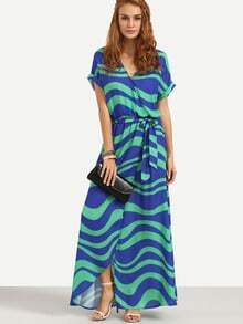 Wave Patterned Rolled Sleeve Wrap Dress