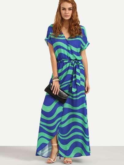 Color Block Striped Split Wrap Dress