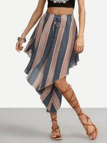Multicolor Striped Drawstring Asymmetric Pants