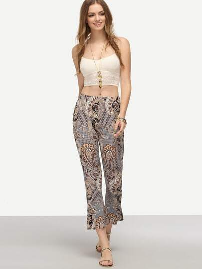 Multicolor Tribal Print Flare Trousers