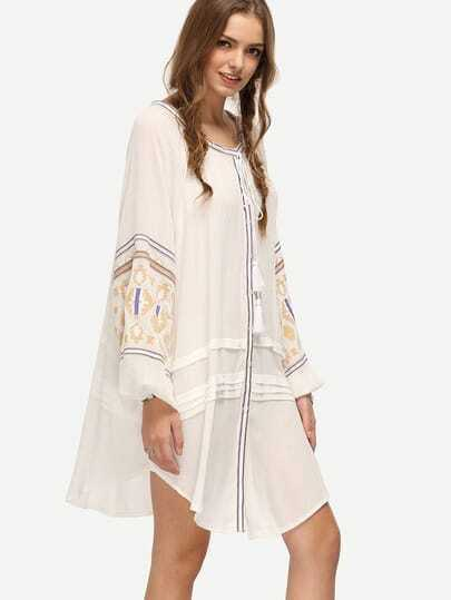 White Tie-neck Geo Embroidered Loose Dress