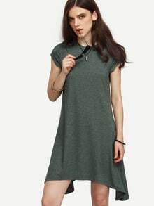 Army Green Cap Sleeve Asymmetrical Dress