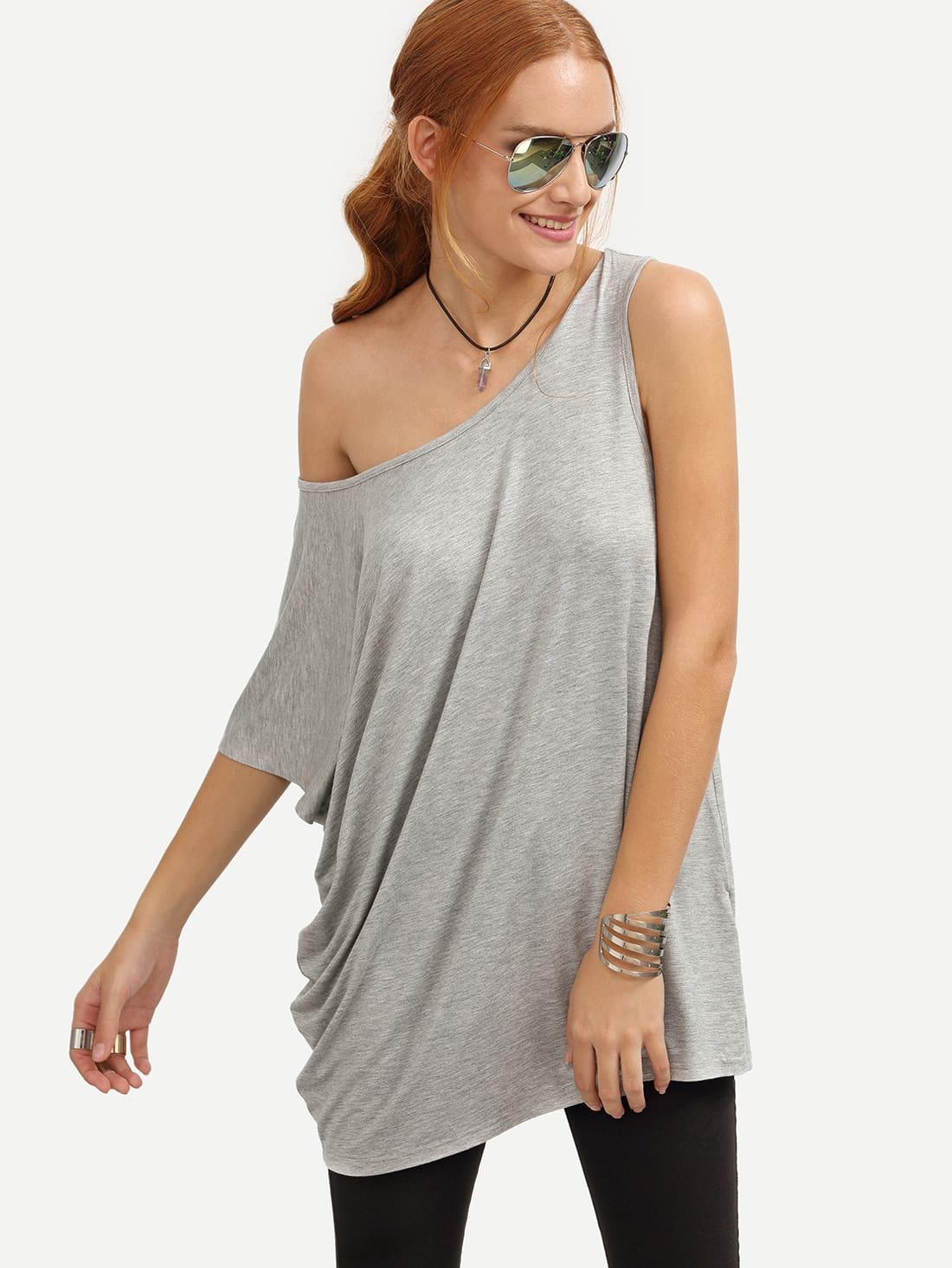 grey casual one shoulder t shirt shein sheinside. Black Bedroom Furniture Sets. Home Design Ideas
