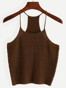 Coffee Spaghetti Strap Knit Tank Top