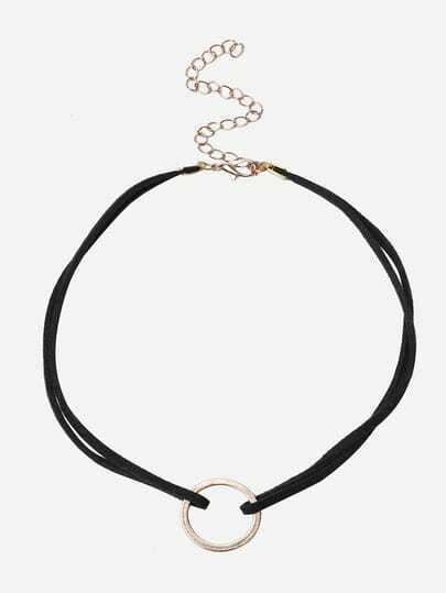 Black Alloy Ring Choker Necklace