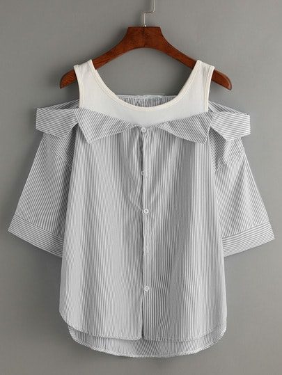 Grey Striped Fold Over Cold Shoulder Blouse