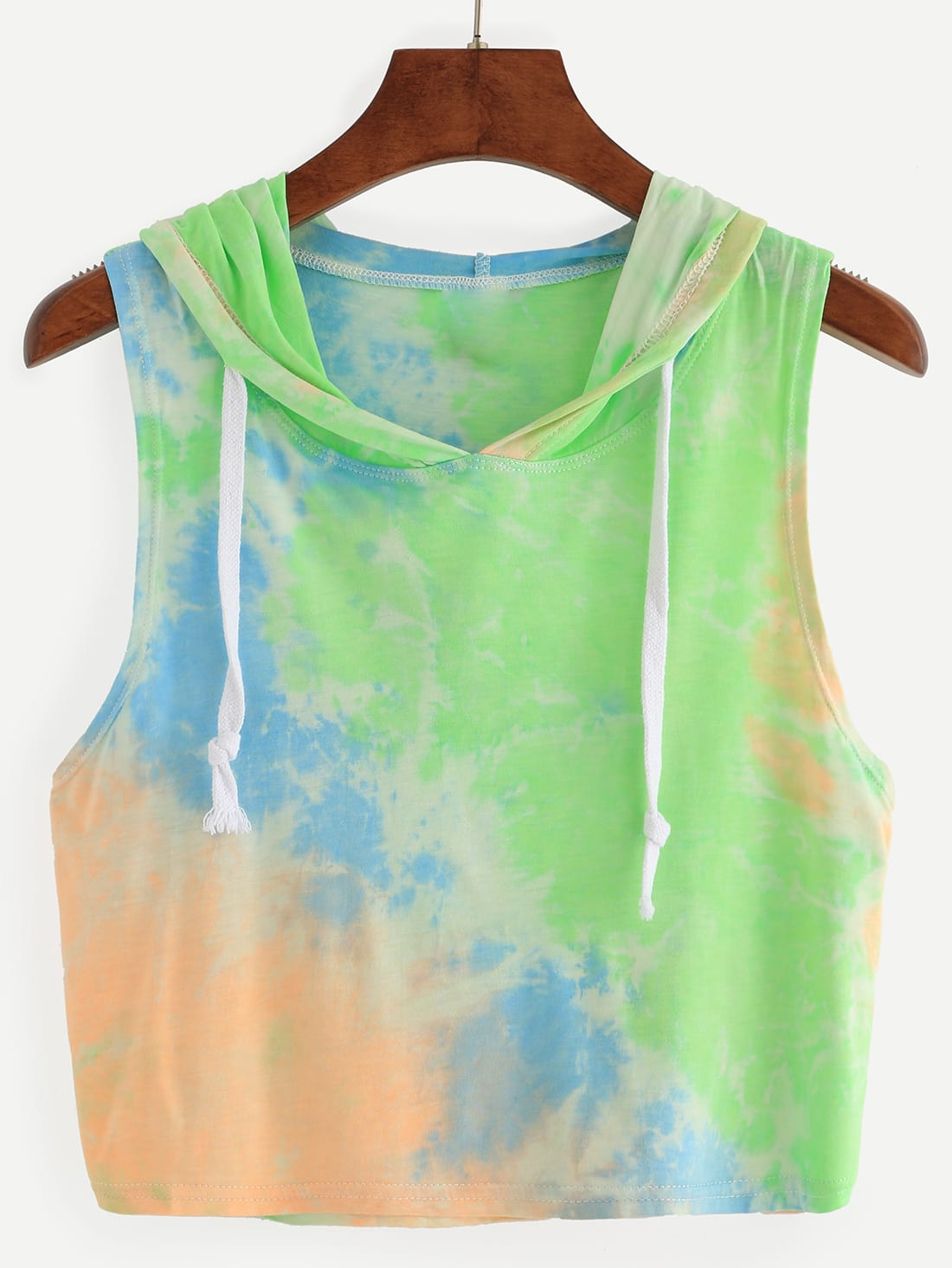multicolor pastel tie dye print crop hooded tank top