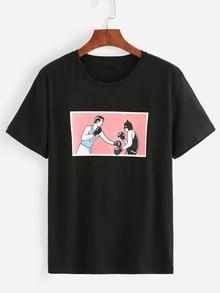 T-Shirt Stampa Pugliato - Nero